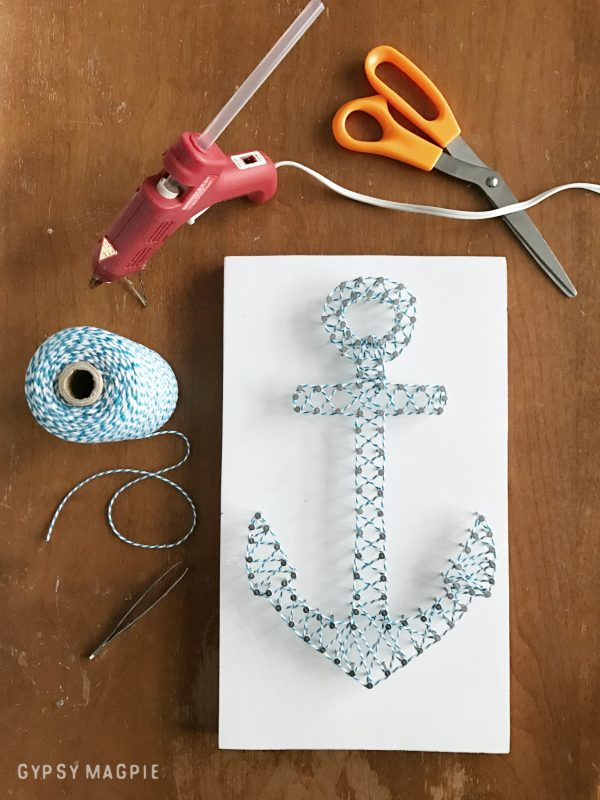 String art is so fun! Come see how to make this DIY anchor string art over at Gypsy Magpie! | Gypsy Magpie