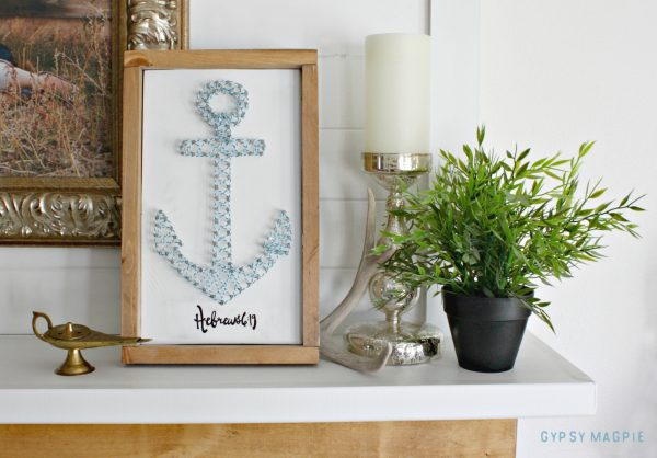 DIY anchor string art inspired by Hebrews 6:19 #PRINCEofPEACE | Gypsy Magpie
