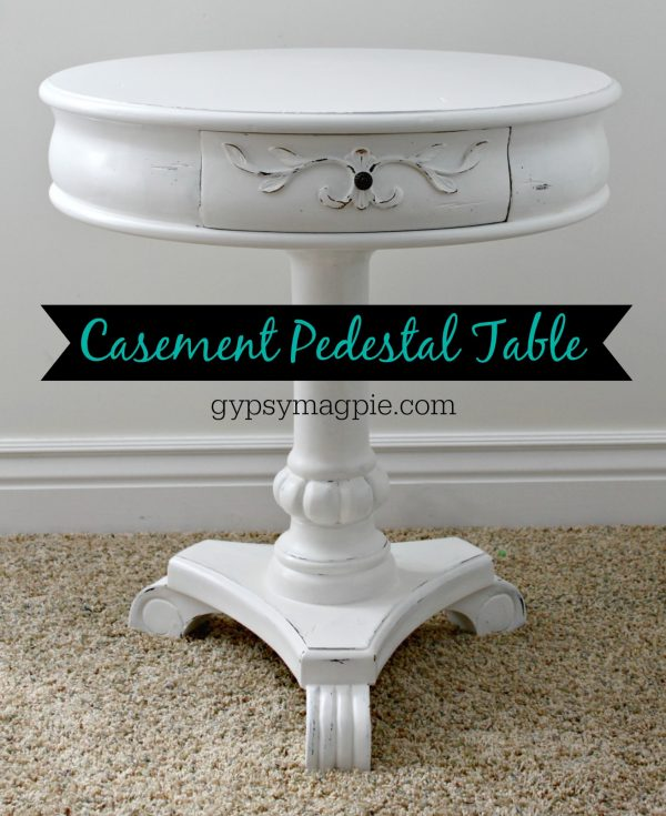 Cute round painted pedestal table with papered drawers | Gypsy Magpie