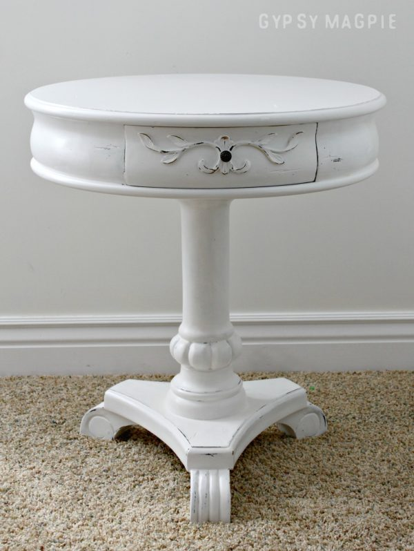 Darling little white pedestal table