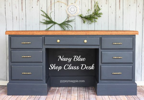 Navy Blue Shop Class Desk. Makeover by Gypsy Magpie