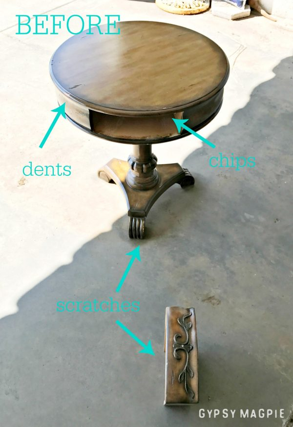 This sad yard sale pedestal table got some love. It's so pretty now! Stop by Gypsy Magpie to see the after.