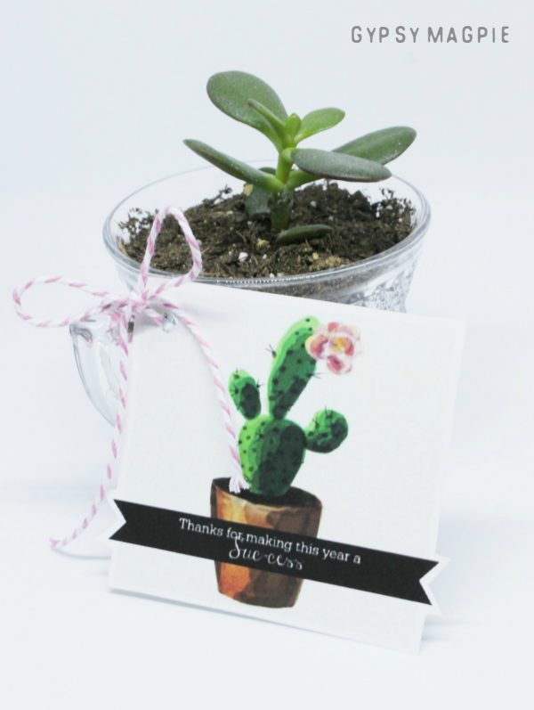 This little succulent teacher gift is quick and easy! Free printable + cute plant = happy teachers!