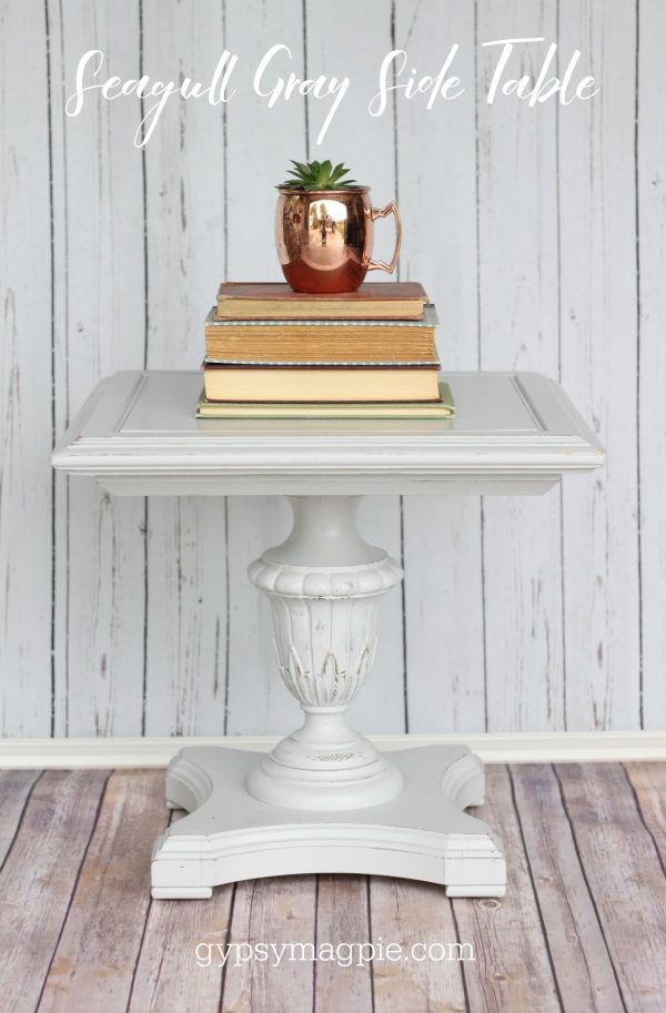 This little side table is painted in Seagull Gray. Isn't he darling? | Gypsy Magpie