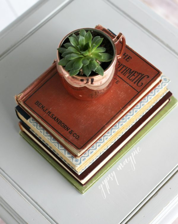 Old books, succulents, and the perfect gray. These are the things decor dreams are made of! | Gypsy Magpie