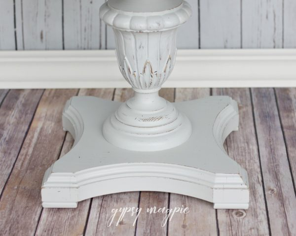 I love the detail on this sweet little Seagull Gray side table! | Gypsy Magpie