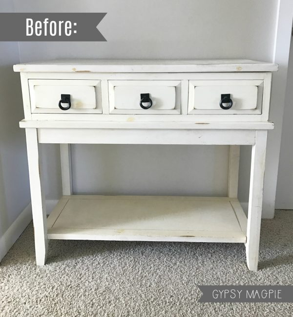 Come see what this tired console table looks like after some paint, paper, and new hardware! | Gypsy Magpie