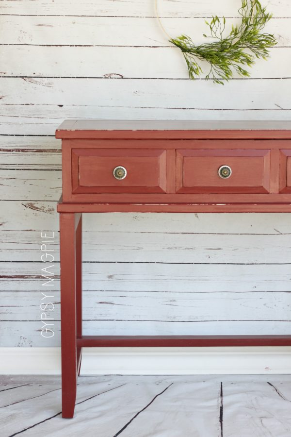 Beautiful Tuscan Red and Honeycomb Papered Console Table | Gypsy Magpie