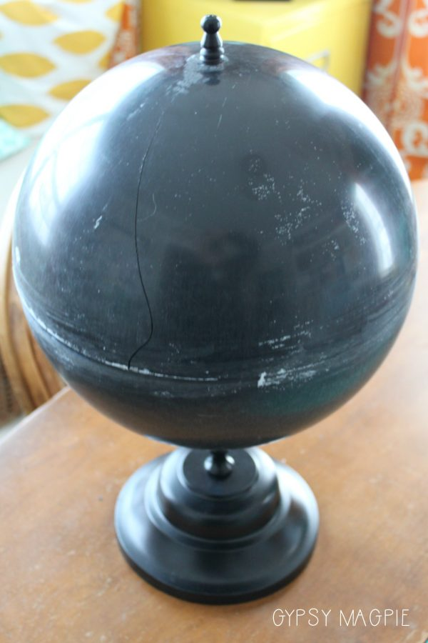 This sorry excuse for a globe got a makeover. Come see the after! | Gypsy Magpie
