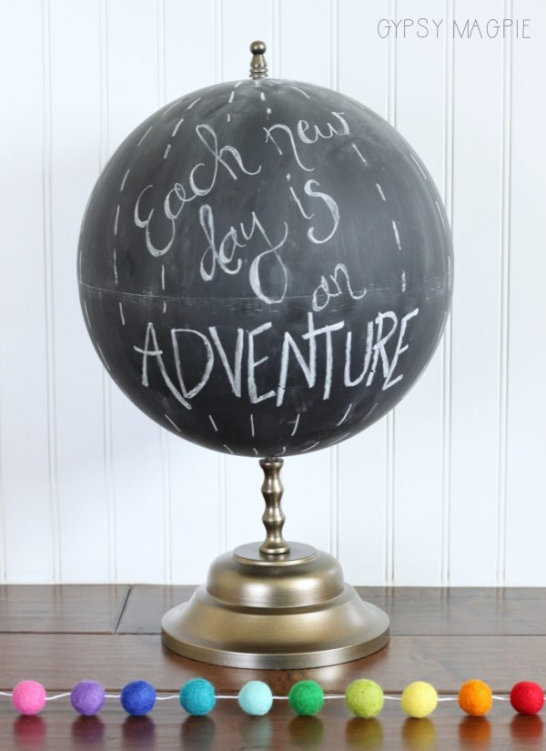 Can you believe this cute chalkboard globe was once a broken mess? It's adorable! | Gypsy Magpie