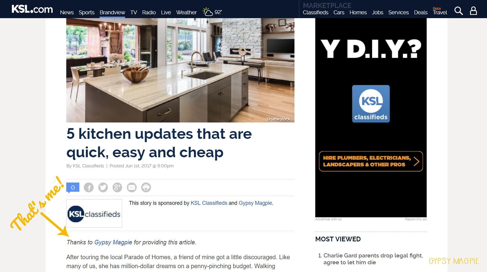 You guys! I'm writing for KSL! Check out my 1st article over at KSL.com   Gypsy Magpie