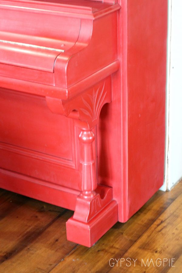 The cheeriest red piano you ever did see! Stop over to the blog and see the before! | Gypsy Magpie