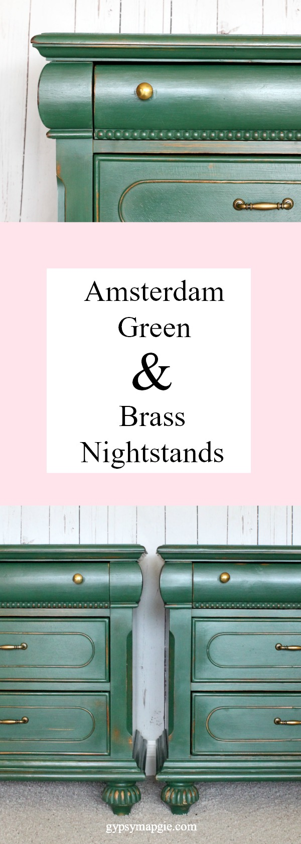 Amsterdam Green & Brass Nightstands | Gypsy Magpie
