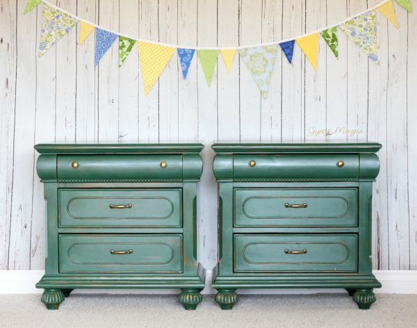 Brass and green nightstands | Gypsy Magpie
