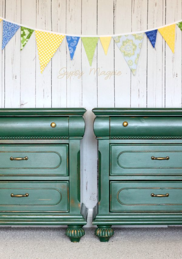 This pair of green and brass nightstands turned out so pretty! | Gypsy Magpie