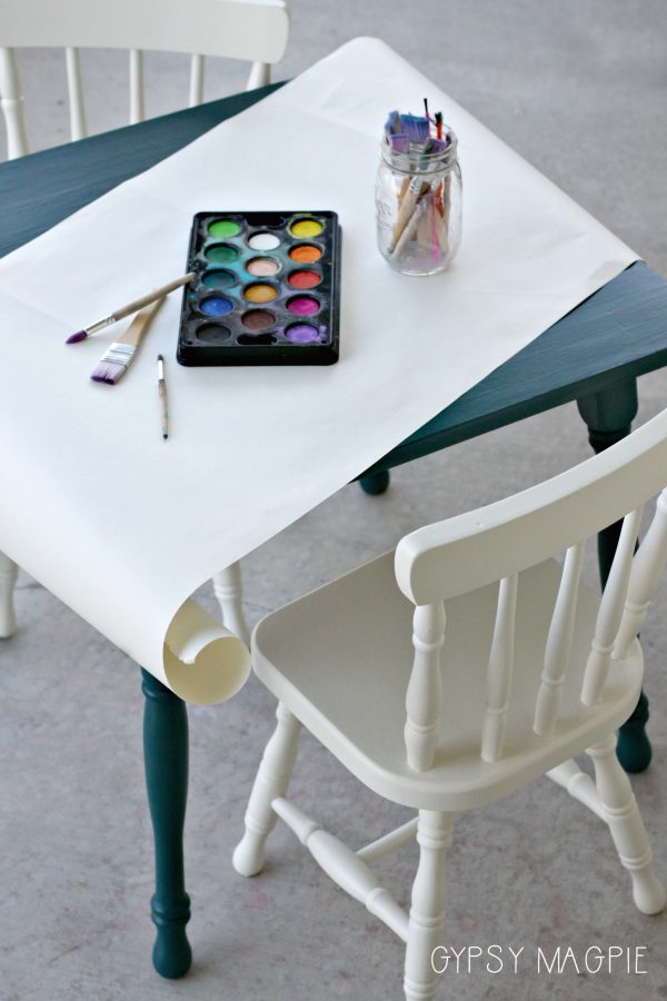 This peacock blue kids art table is darling! | Gypsy Magpie