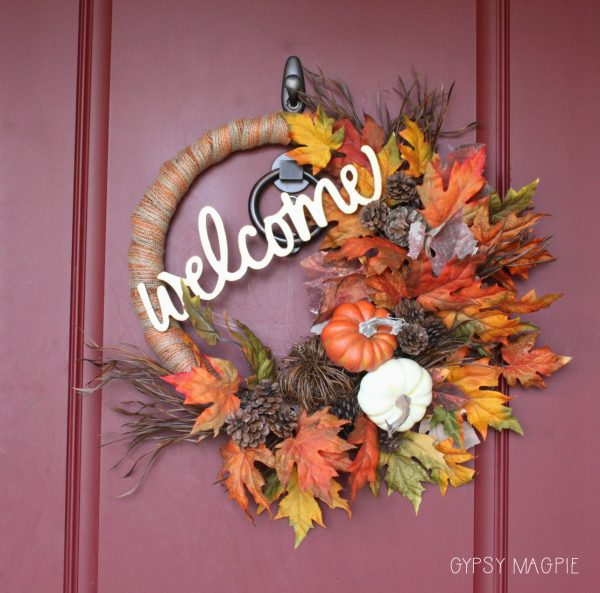 This fall pumpkin welcome wreath was easy and can be changed up for Thanksgiving! | Gypsy Magpie