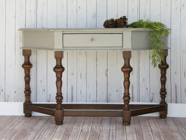 Beautiful Empire Gray and Oiled Leg Entry Table | Gypsy Magpie
