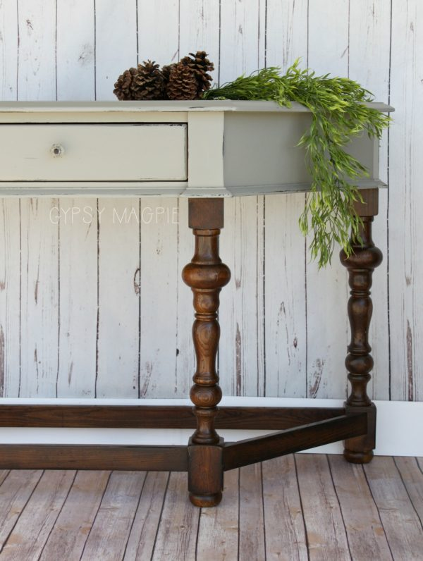 Beautiful wood and gray entry table with papered drawer | Gypsy Magpie