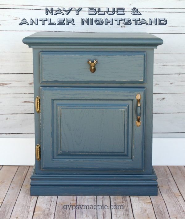 This antler and navy blue nightstand is just begging to be in an outdoor loving kid's room! | Gypsy Magpie