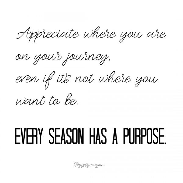 Appreciate where you are on your journey, even if it's not where you want to be. Every season has a purpose. - Wishing you a meaningful Christmas season and a fabulous New Year!