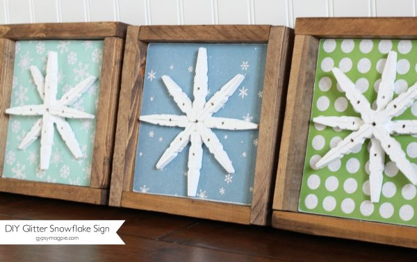 Cute DIY glitter snowflake signs | Gypsy Magpie