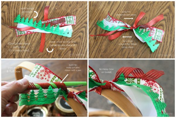 How to make a quick messy bow for your Christmas packages!