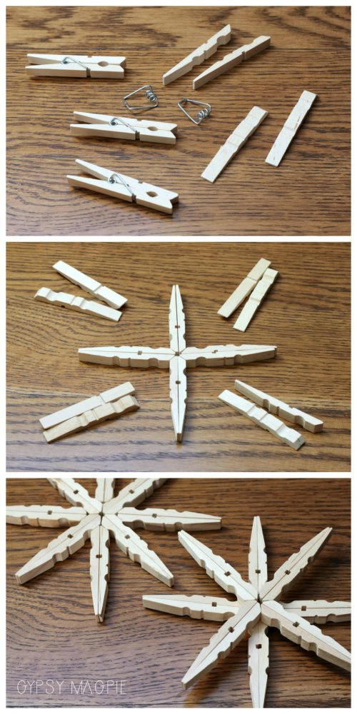 How to make a snowflake from clothespins | Gypsy Magpie