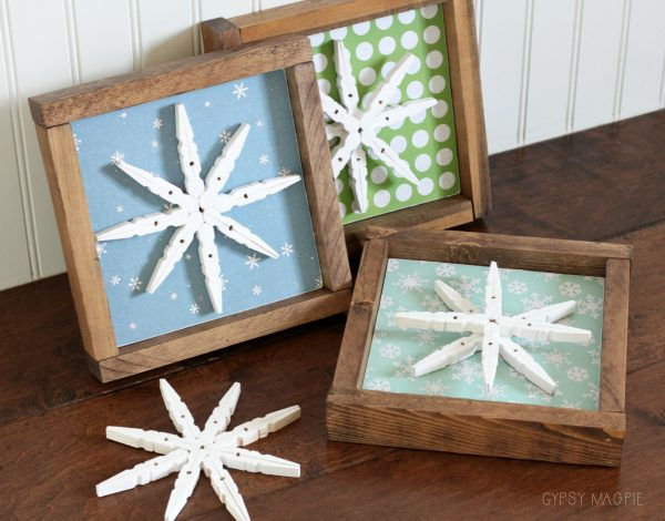 Simple DIY glittered snowflake signs | Gypsy Magpie