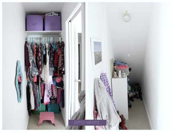 This funny angled closet space needs a major overhaul. This project could be over my head! | Gypsy Magpie