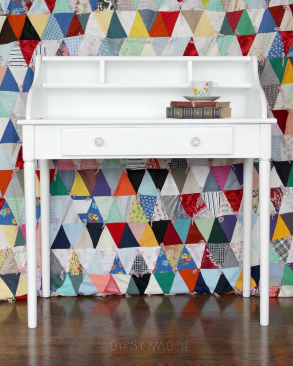 This sweet little writing desk got love and is now ready to shine! Stop by the blog for the before pics! | Gypsy Magpie