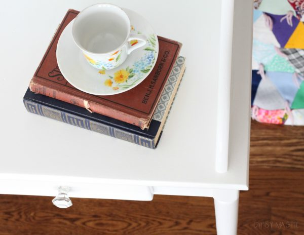Pretty writing desk made over with white paint and glass knobs | Gypsy Magpie