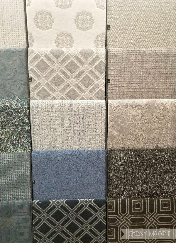 Patterned carpet is huge right now in flooring design. How fun are these samples from Anderson Tuftex? Love! | Gypsy Magpie
