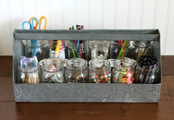 Craft storage using a tool caddy and mason jars | Gypsy Magpie