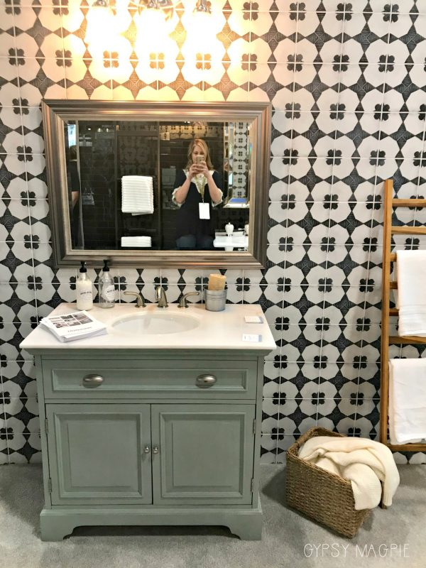 Funky tile wall in a bathroom vignette at the International Surfaces Event | Gypsy Magpie