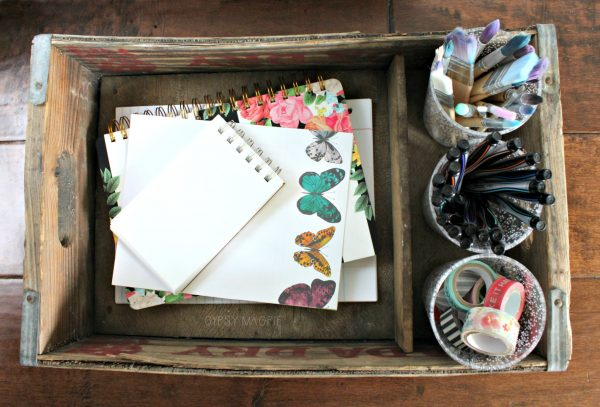 Pop crate craft storage flat lay | Gypsy Magpie
