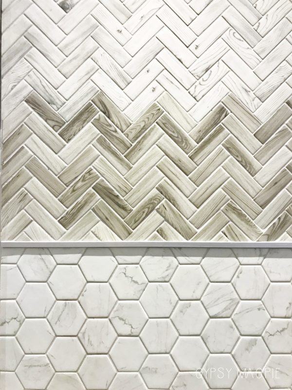 Wood tile in a herringbone pattern! This would be such a cool accent in a shower! | Gypsy Magpie