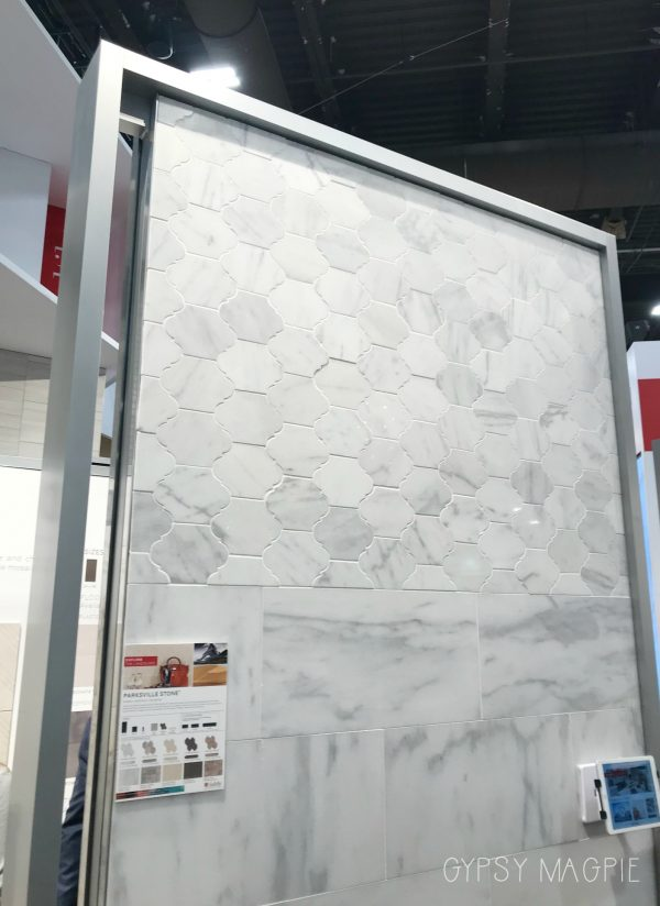 This beautiful marble tile from Daltile has such a cool shape! | Gypsy Magpie