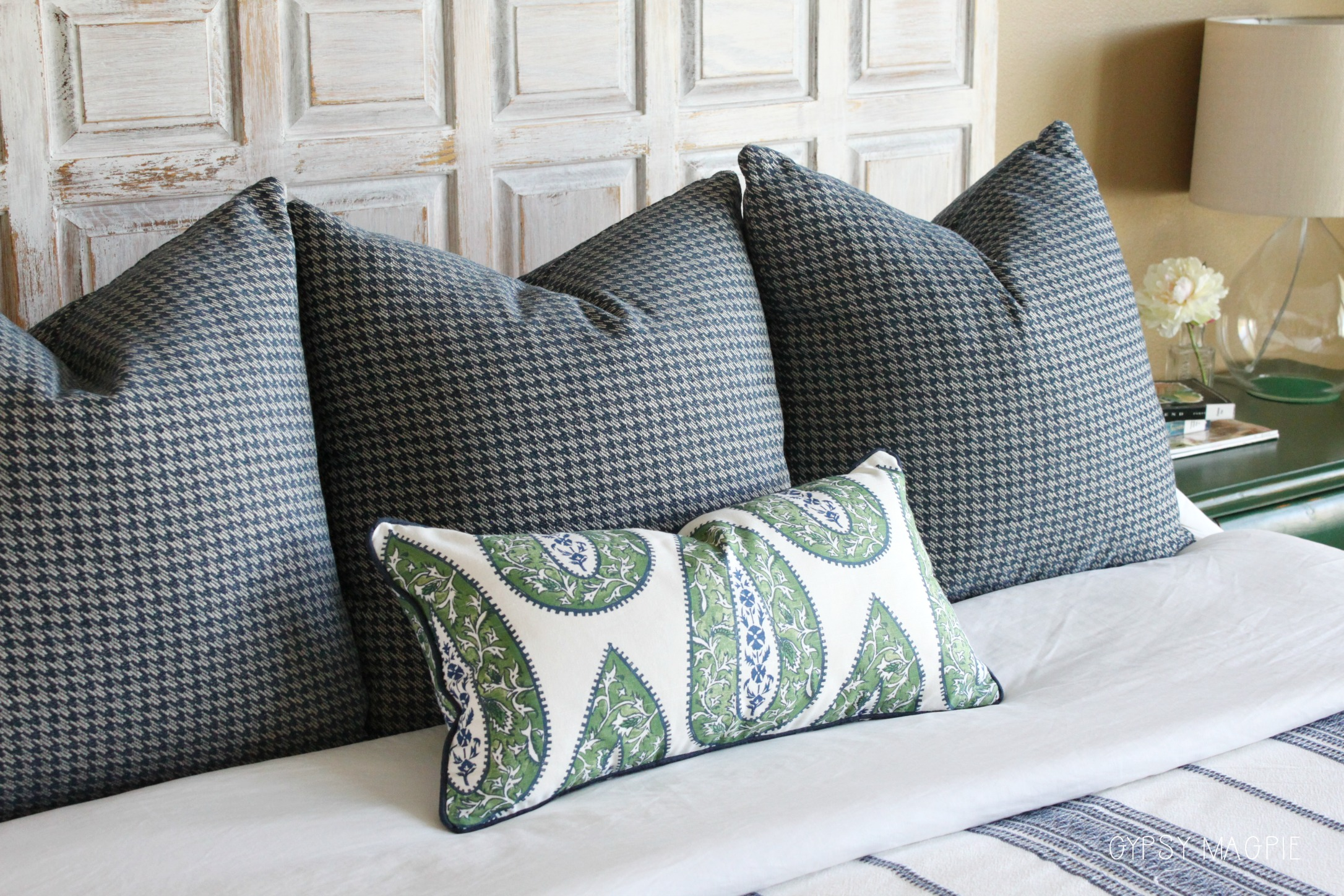 Mixed pattern pillows in navy and green | Gypsy Magpie