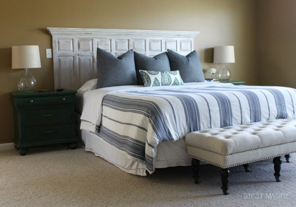 Navy and green master bedroom color scheme | Gypsy Magpie