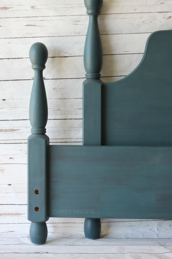 Queen Bed painted in Magnolia's Weekend, the perfect moody, watery blue! | Gypsy Magpie