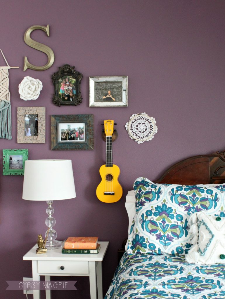Teen girl's boho bedroom + DIY uke hanger | Gypsy Magpie