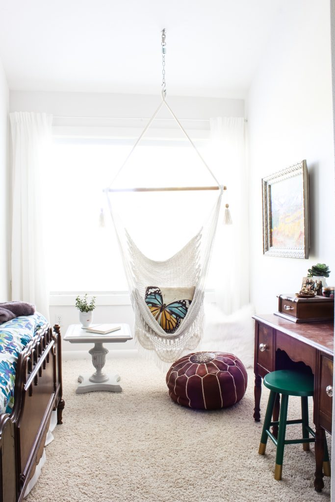 Swing and Leather Pouf | Gypsy Magpie