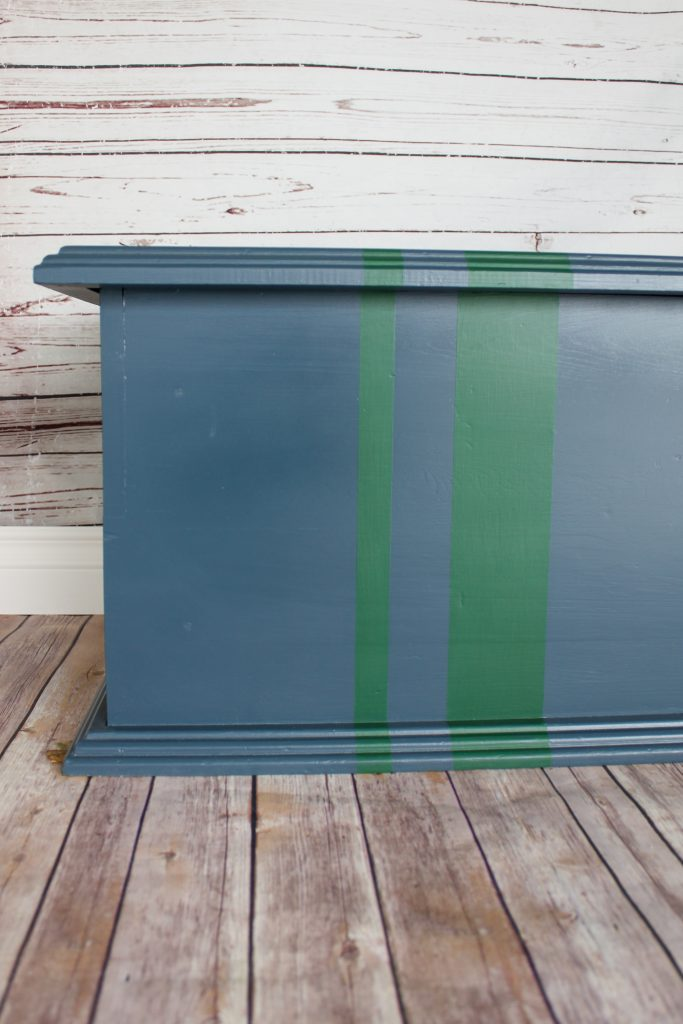Cute navy toy box with green stripes | Gypsy Magpie
