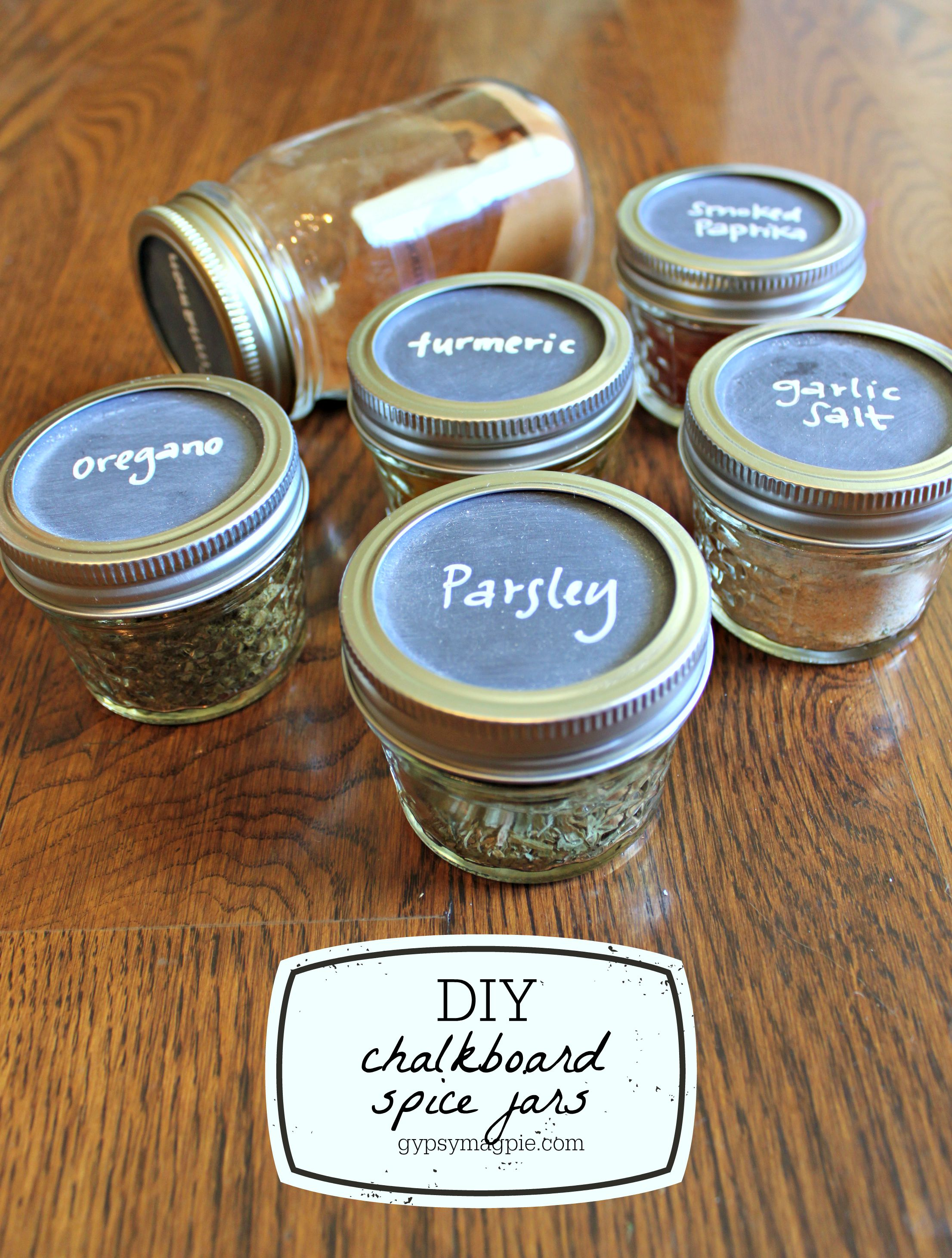 DIY Spice Jars with Chalkboard Labels {Gypsy Magpie}
