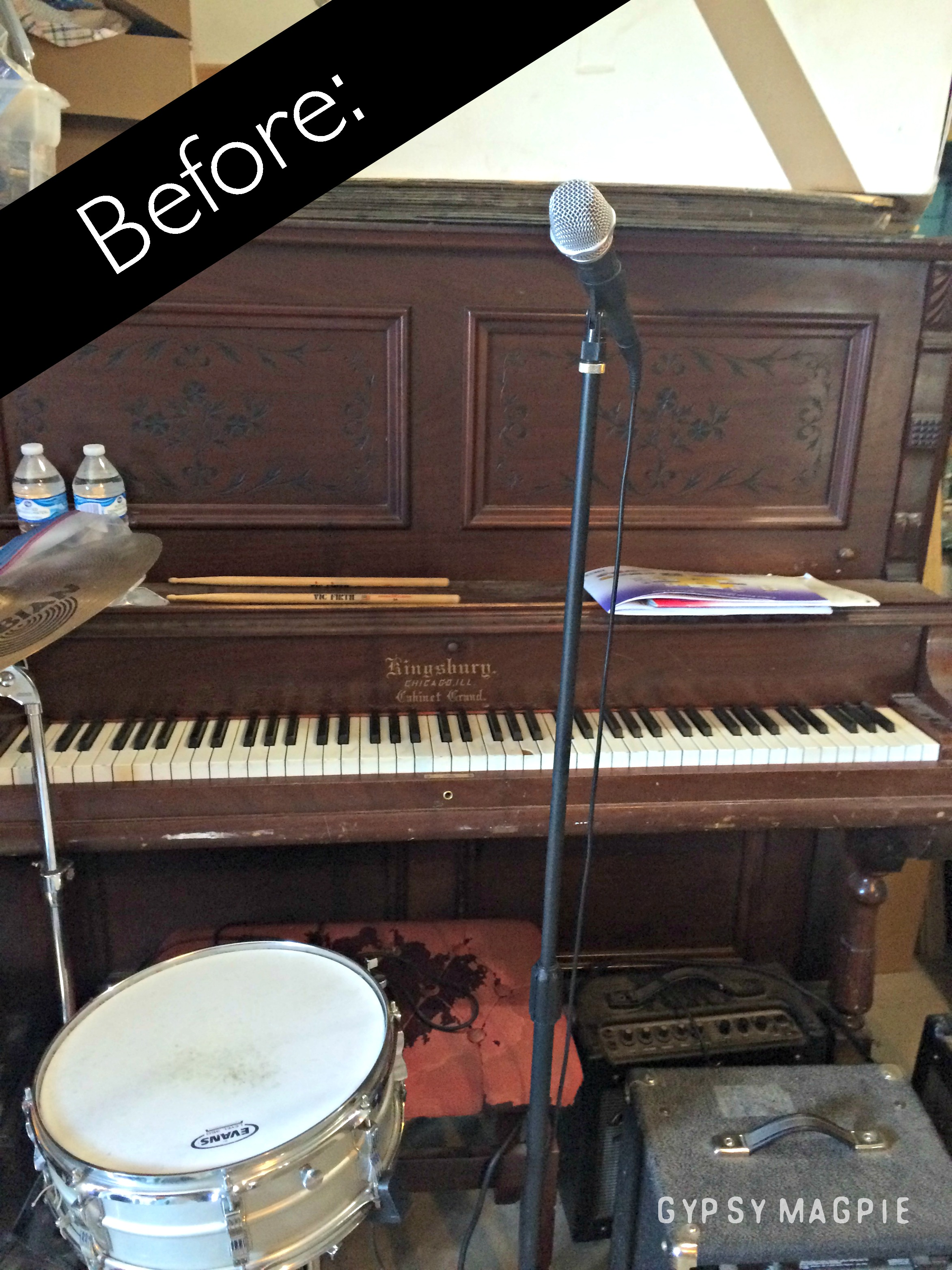 The BEFORE of an antique piano makeover | Gypsy Magpie