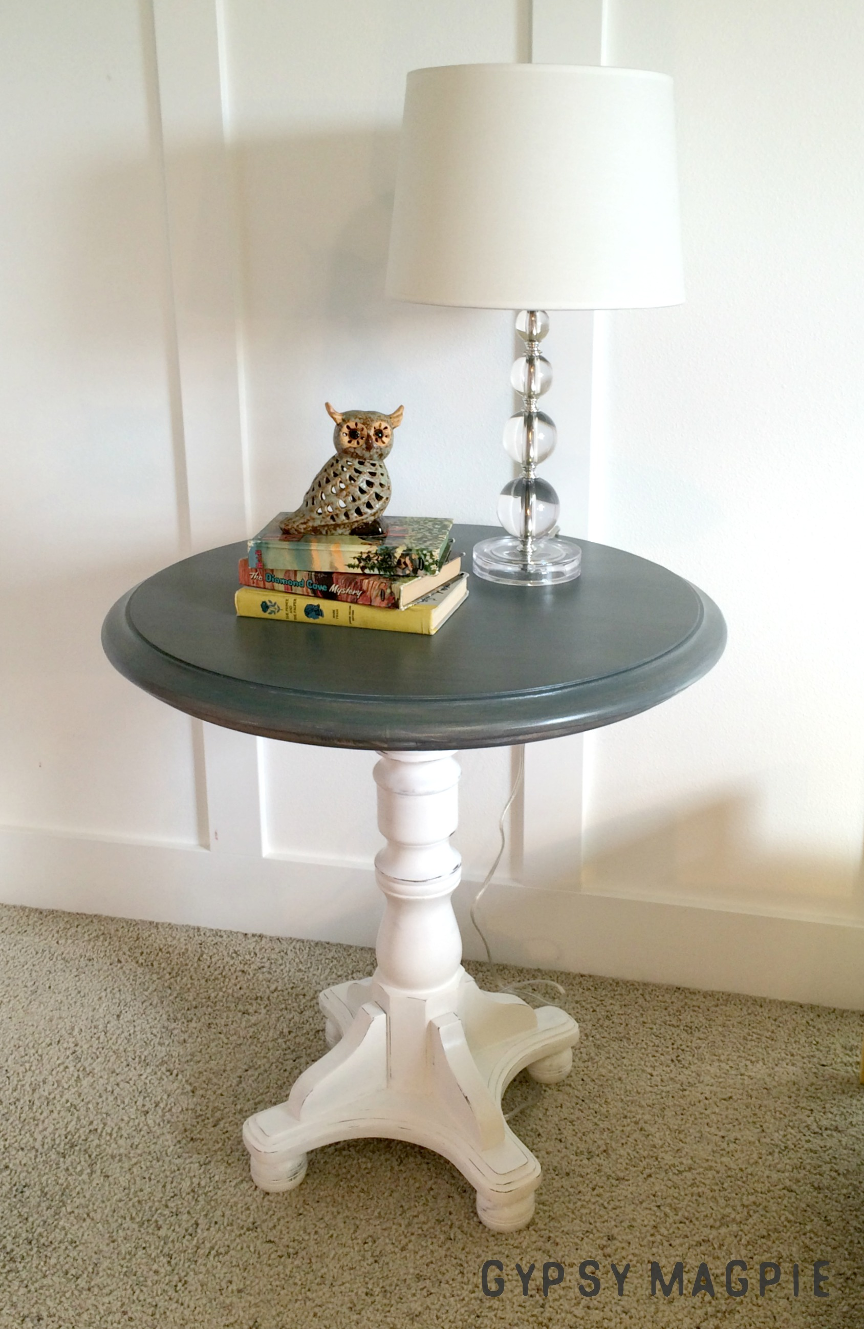 This pretty greywashed pedestal table and her twin turned out so sweet! I love the classy farmhouse look. | Gypsy Magpie