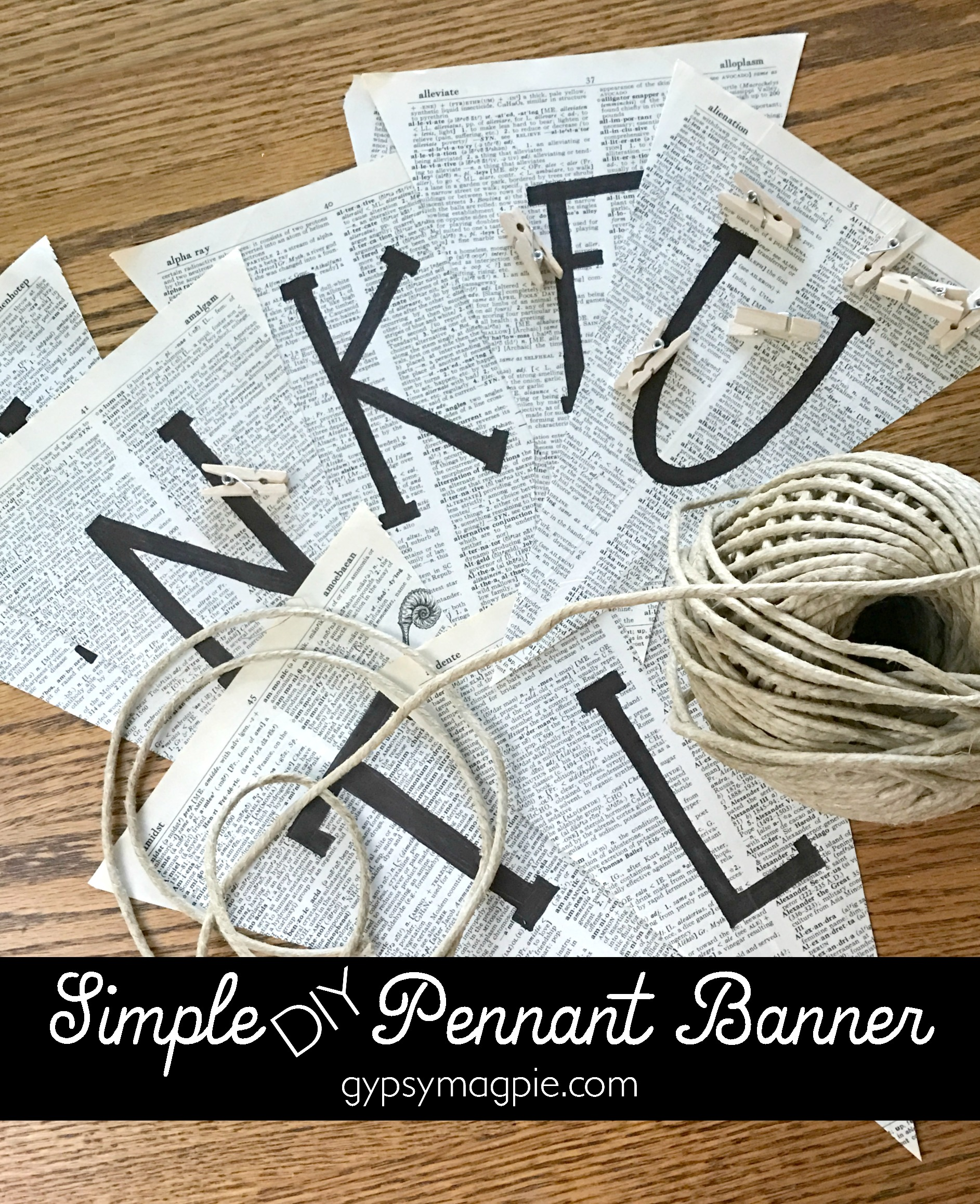 Got 10 minutes and an old book? Make a quick and simple pennant banner! | Gypsy Magpie