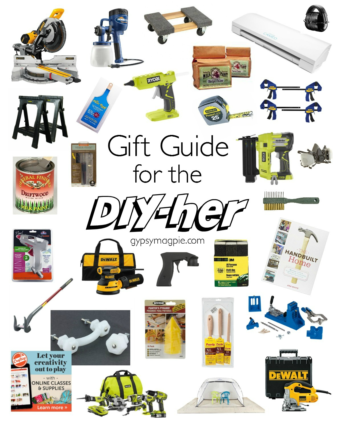 Do you have a DIY loving lady on your Christmas list? Here's a gift guide for the DIY-her that's sure to make your shopping easier! | Gypsy Magpie