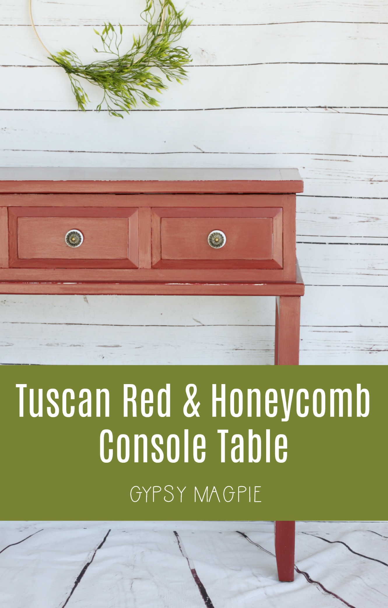 Tuscan Red & Honeycomb Console Table | Gypsy Magpie